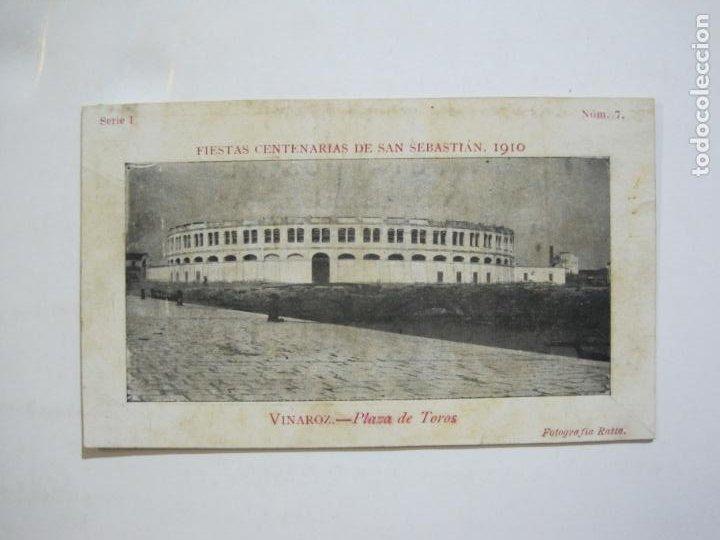 VINAROZ-PLAZA DE TOROS-REVERSO SIN DIVIDIR-FIESTAS CENTENARIAS SAN SEBASTIAN 1910-POSTAL-(76.369) (Postales - España - Comunidad Valenciana Antigua (hasta 1939))
