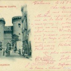 Postales: VALENCIA. TORRES DE CUARTE. CIRCULADA EN 1899 CON DOS PELONES.. Lote 233912740