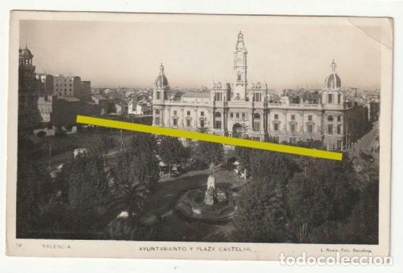 POSTAL AYUNTAMIENTO Y PLAZA CASTELAR VALENCIA ESCRITA EN 1933 - -R-11 (Postales - España - Comunidad Valenciana Antigua (hasta 1939))