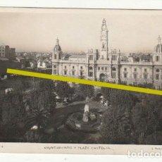 Postales: POSTAL AYUNTAMIENTO Y PLAZA CASTELAR VALENCIA ESCRITA EN 1933 - -R-11. Lote 236907875