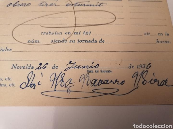 Postales: NOVELDA. ALICANTE. OFICINA LOCAL COLOCACIÓN OBRERA. JUNIO 1936. BONITO CUÑO ESTRELLA DE CUBA. - Foto 2 - 239719500
