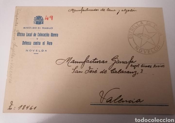 NOVELDA. ALICANTE. OFICINA LOCAL COLOCACIÓN OBRERA. JUNIO 1936. BONITO CUÑO ESTRELLA DE CUBA. (Postales - España - Comunidad Valenciana Antigua (hasta 1939))