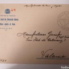 Postales: NOVELDA. ALICANTE. OFICINA LOCAL COLOCACIÓN OBRERA. JUNIO 1936. BONITO CUÑO ESTRELLA DE CUBA.. Lote 239719500