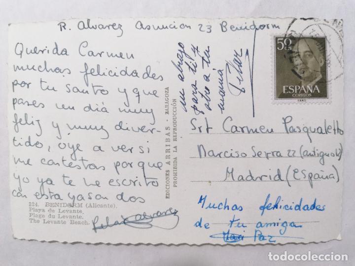 Postales: POSTAL BENIDORM, PLAYA DE LEVANTE, AÑOS 60 - Foto 2 - 244467795