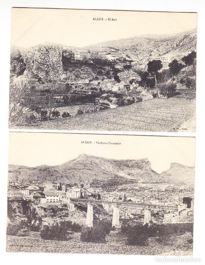2 POSTALES ALCOY. SERIE M.N.PARIS MUY ESCASA.- EL SALT Y VIADUCTO CANALEJAS- OCASION POR LIQUIDACIÓN (Postales - España - Comunidad Valenciana Antigua (hasta 1939))