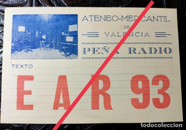 ANTIGUA TARJETA POSTAL DE RADIOAFICIONADO EAR 93. ATENEO MERCANTIL DE VALENCIA. (Postales - España - Comunidad Valenciana Antigua (hasta 1939))