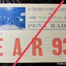 Postales: ANTIGUA TARJETA POSTAL DE RADIOAFICIONADO EAR 93. ATENEO MERCANTIL DE VALENCIA.. Lote 251898145