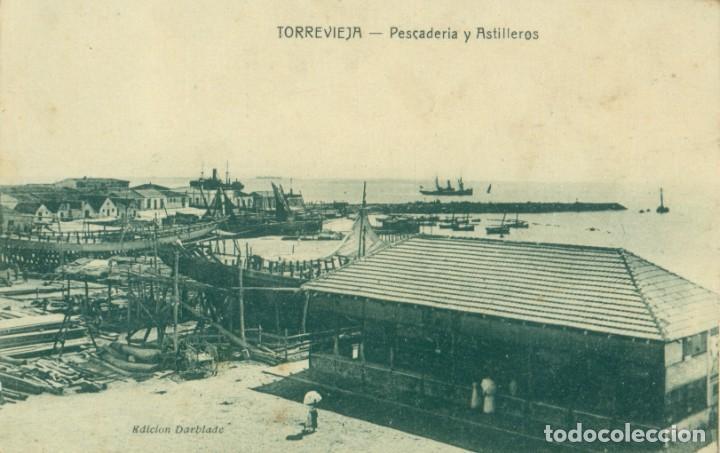 ALICANTE. TORREVIEJA. PESCADERIA Y ASTILLEROS. CIRCULADA HACIA 1920.MUY RARA. (Postales - España - Comunidad Valenciana Antigua (hasta 1939))