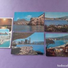 Postales: LOTE 5 TARJETAS POSTALES BENIDORM (ALICANTE) CASTILLO PLAYA DE LEVANTE. Lote 255519140