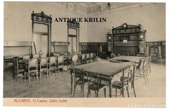 ALICANTE / EL CASINO , SALON INGLES / FOTOTIPIA THOMAS (Postales - España - Comunidad Valenciana Antigua (hasta 1939))