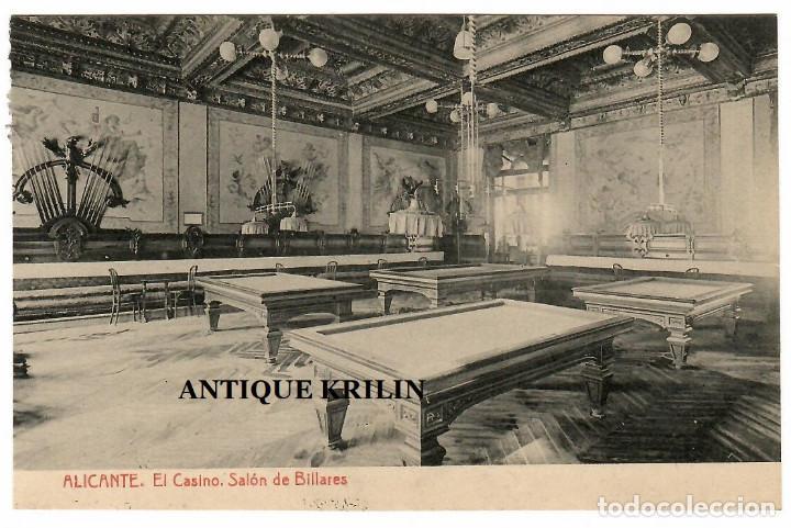 ALICANTE / EL CASINO , SALON DE BILLARES / FOTOTIPIA THOMAS (Postales - España - Comunidad Valenciana Antigua (hasta 1939))