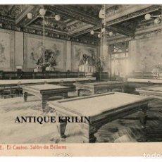Postales: ALICANTE / EL CASINO , SALON DE BILLARES / FOTOTIPIA THOMAS. Lote 262694930