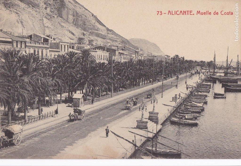 ALICANTE MUELLE DE COSTA. ED. FOTOTIPIA THOMAS Nº 73. SIN CIRCULAR (Postales - España - Comunidad Valenciana Antigua (hasta 1939))