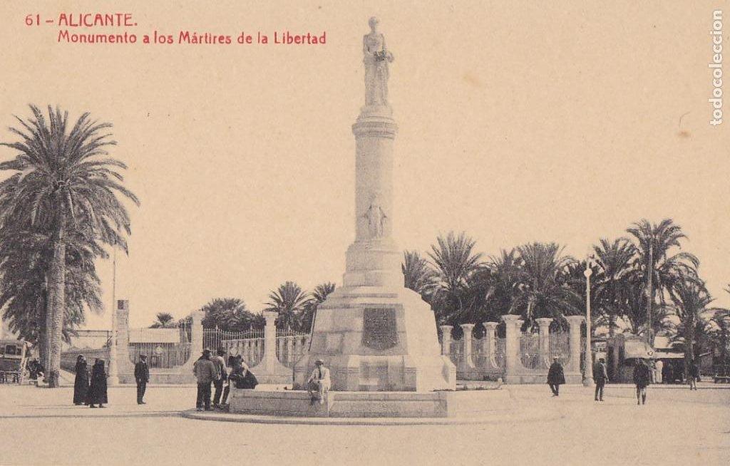 ALICANTE MONUMENTO A LOS MARTIRES DE LA LIBERTAD. ED. FOTOTIPIA THOMAS Nº 61. SIN CIRCULAR (Postales - España - Comunidad Valenciana Antigua (hasta 1939))