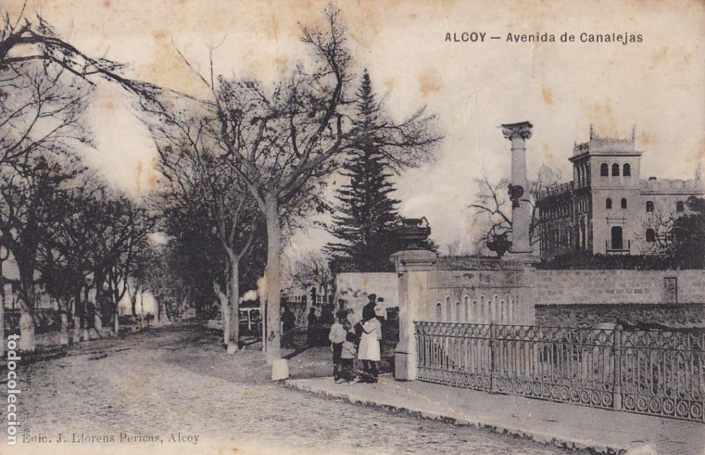 ALICANTE ALCOY AVENIDA CANALEJAS. ED. J. LLORENS PERICAS. SIN CIRCULAR (Postales - España - Comunidad Valenciana Antigua (hasta 1939))