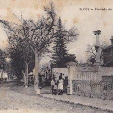 Postales: ALICANTE ALCOY AVENIDA CANALEJAS. ED. J. LLORENS PERICAS. SIN CIRCULAR. Lote 263074715