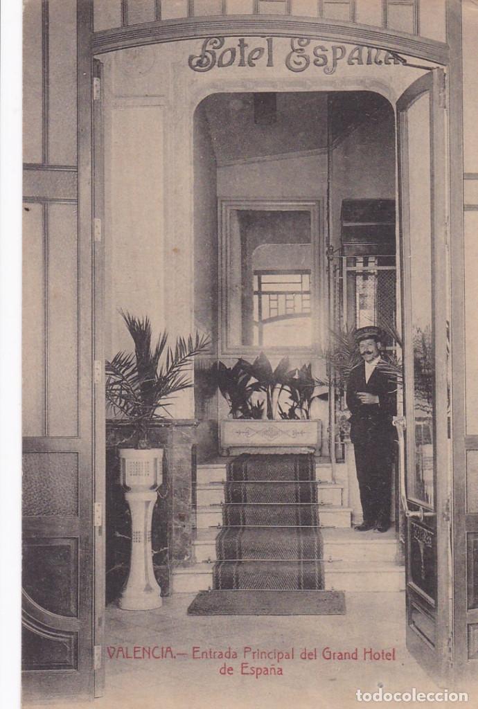 VALENCIA ENTRADA GRAN HOTEL ESPAÑA. ED. CASTEÑEIRA ALVAREZ Y LEVENFELD. CON SELLO DEL HOTEL (Postales - España - Comunidad Valenciana Antigua (hasta 1939))