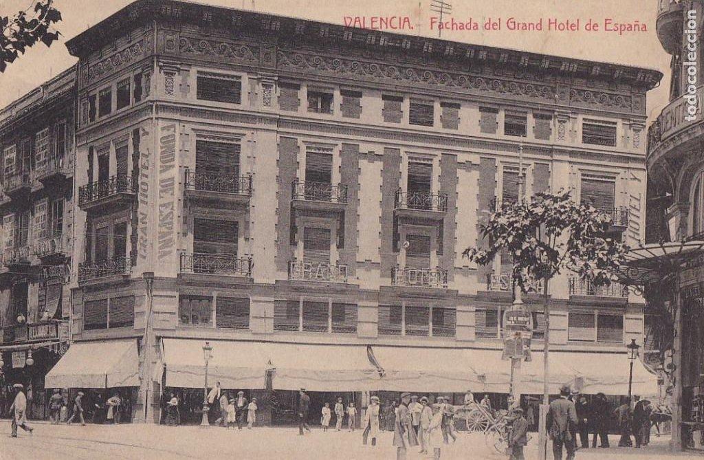 VALENCIA FACHADA GRAN HOTEL ESPAÑA. ED. CASTEÑEIRA ALVAREZ Y LEVENFELD. CON SELLO DEL HOTEL (Postales - España - Comunidad Valenciana Antigua (hasta 1939))