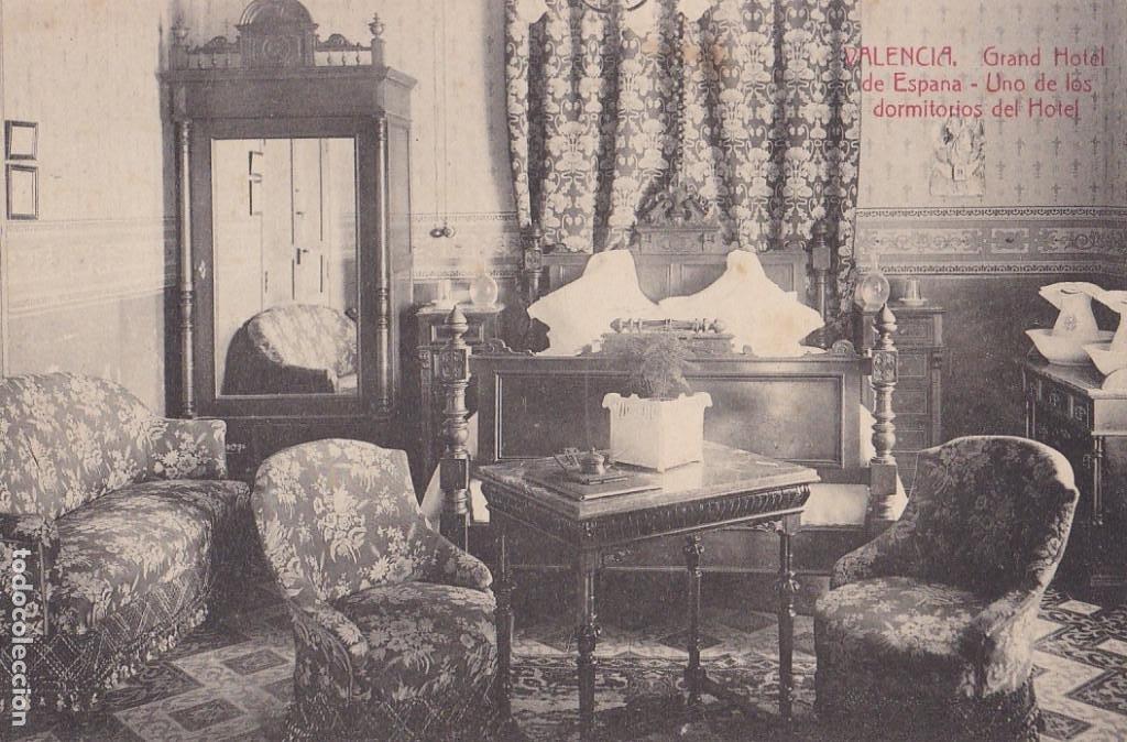 VALENCIA UN DORMITORIO GRAN HOTEL ESPAÑA. ED. CASTEÑEIRA ALVAREZ Y LEVENFELD. CON SELLO DEL HOTEL (Postales - España - Comunidad Valenciana Antigua (hasta 1939))
