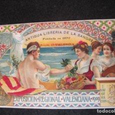 Postales: VALENCIA-EXPOSICION REGIONAL VALENCIANA 1909-PUBLICIDAD LIBRERIA DE LA SANGRE-POSTAL ANTIGUA(82.464). Lote 274617698