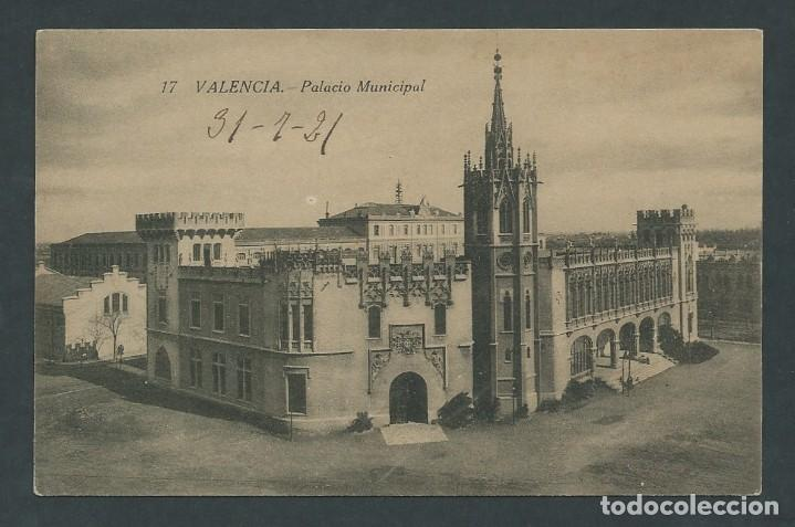 ANTIGUA POSTAL VALENCIA PALACIO MUNICIPAL CIRCULADA AÑO 1921 (Postales - España - Comunidad Valenciana Antigua (hasta 1939))