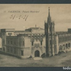 Postales: ANTIGUA POSTAL VALENCIA PALACIO MUNICIPAL CIRCULADA AÑO 1921. Lote 276198453