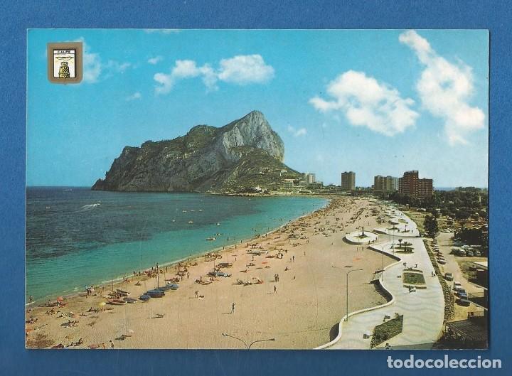 POSTAL CIRCULADA CALPE 87 (ALICANTE) VISTA PARCIAL DE LA PLAYA DE LEVANTE EDITA ESCUDO DE ORO (Postales - España - Comunidad Valenciana Moderna (desde 1940))