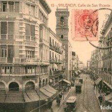 Postales: EA512 VALENCIA CALLE DE SAN VICENTE THOMAS Nº63 TRANVIA CIRCULADA 1915. Lote 279560108