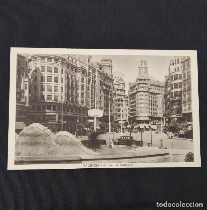 ANTIGUA POSTAL HUECOGRABADO VALENCIA JDP - PLAZA DEL CAUDILLO. (AÑOS 40 O 50) (Postales - España - Comunidad Valenciana Moderna (desde 1940))