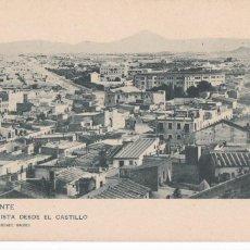Postales: ALICANTE, VISTA DESDE EL CASTILLO. ED. HAUSER Y MENET Nº 498. REVERSO SIN DIVIDIR. Lote 288039048