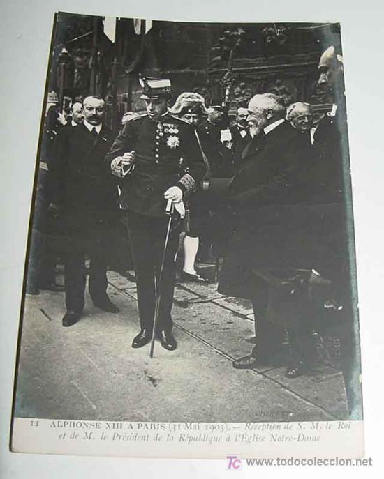 ANTIGUA POSTAL S. M. EL REY DON ALFONSO XIII EN PARIS - MONARQUIA - NO CIRCULADA. (Postales - Postales Temáticas - Conmemorativas)