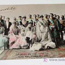 Postales: ANTIGUA FOTO POSTAL COLOREADA DE LA FAMILIA REAL Y PRINCIPES EXTRANJEROS - LA BODA DE LOS INFANTES -. Lote 26919664
