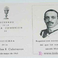 Postales: ANTIGUO RECORDATORIO DE LA PRIMERA COMUNION, CON LA IMAGEN DE S.M. ALFONSO XIII - TAMAÑO LIGERAMENTE. Lote 5414921