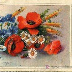 Postales: PRECIOSA POSTAL DE FELICITACIÓN - FLORES.. Lote 18496784