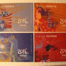 Postales: LAS 4 POSTALES DE MÁLAGA 2016. CANDIDATA A CIUDAD EUROPEA DE LA CULTURA. ESCALA EN CM. . Lote 6632096