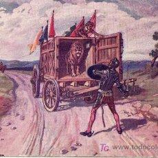 Postales: POSTAL DON QUIJOTE DE LA MANCHA Nº 18 - AVENTURA LOS LEONES- PRIMEROS AÑOS SIGLO XX . Lote 27315952