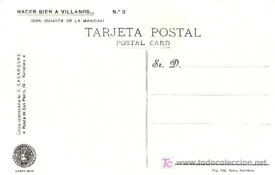 Postales: POSTAL DON QUIJOTE Nº 9 SIN CIRCULAR MANUSCRITA AÑOS 20 - EDITORIAL AMBOS MUNDOS - Foto 2 - 27332312