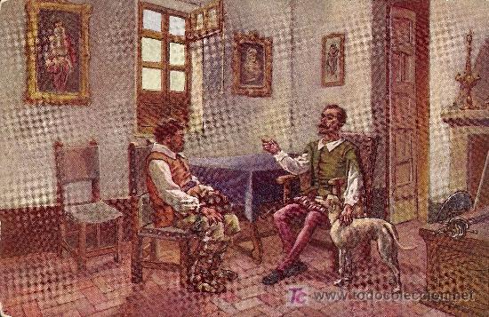 POSTAL DON QUIJOTE Nº 4 SIN CIRCULAR MANUSCRITA AÑOS 20 - EDITORIAL AMBOS MUNDOS (Postales - Postales Temáticas - Conmemorativas)