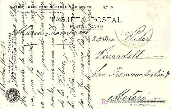 Postales: POSTAL DON QUIJOTE Nº 15 MANUSCRITA FECHADA AÑO 1925 - EDITORIAL AMBOS MUNDOS - Foto 2 - 27332304