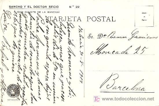 Postales: POSTAL DON QUIJOTE Nº 22 MANUSCRITA FECHADA AÑO 1917 - EDITORIAL AMBOS MUNDOS - Foto 2 - 27456609