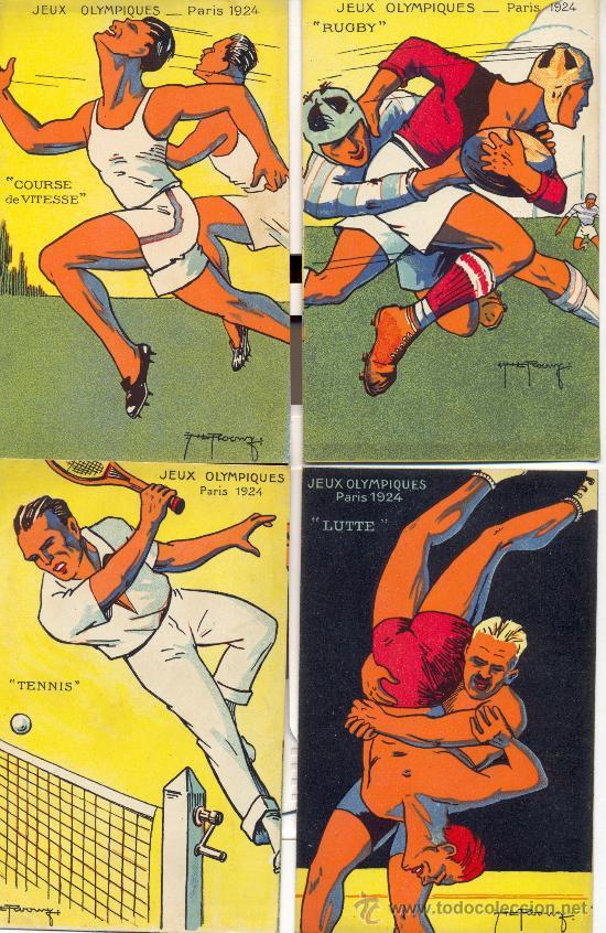 RARISIMO. JUEGOS OLÍMPICOS DE PARIS, 1924. 10 POSTALES COLOR, ÉPOCA, CON OTROS TANTOS DEPORTES. RARO (Postales - Postales Temáticas - Conmemorativas)