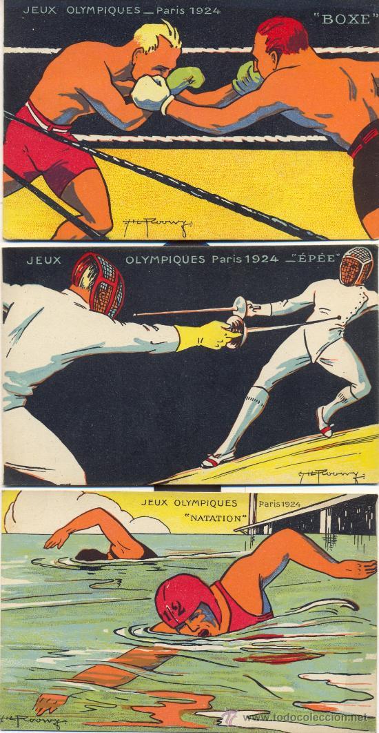 Postales: RARISIMO. Juegos Olímpicos de Paris, 1924. 10 postales color, época, con otros tantos deportes. Raro - Foto 3 - 27115293
