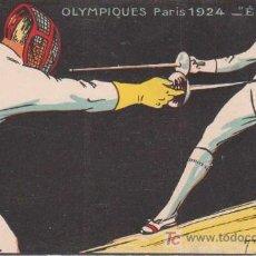 Postales: JEUX OLYMPIQUES PARIS 1924 ÉPÉE - JUEGOS OLÍMPICOS DE PARIS 1924 - ESGRIMA. Lote 11178392