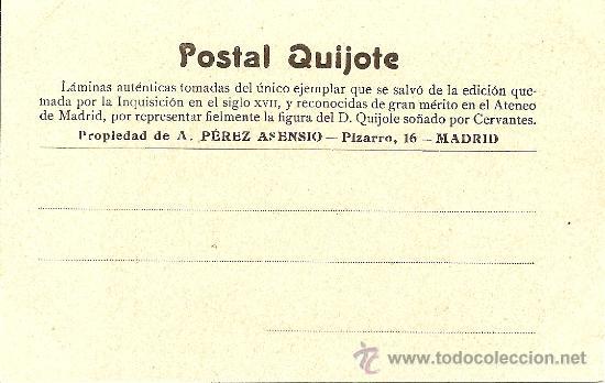 Postales: POSTAL DON QUIJOTE Nº 21 - PROPIEDAD DE A. PEREZ ASENSIO - SIN CIRCULAR - PRINCIPIOS S. XX - Foto 2 - 27456538