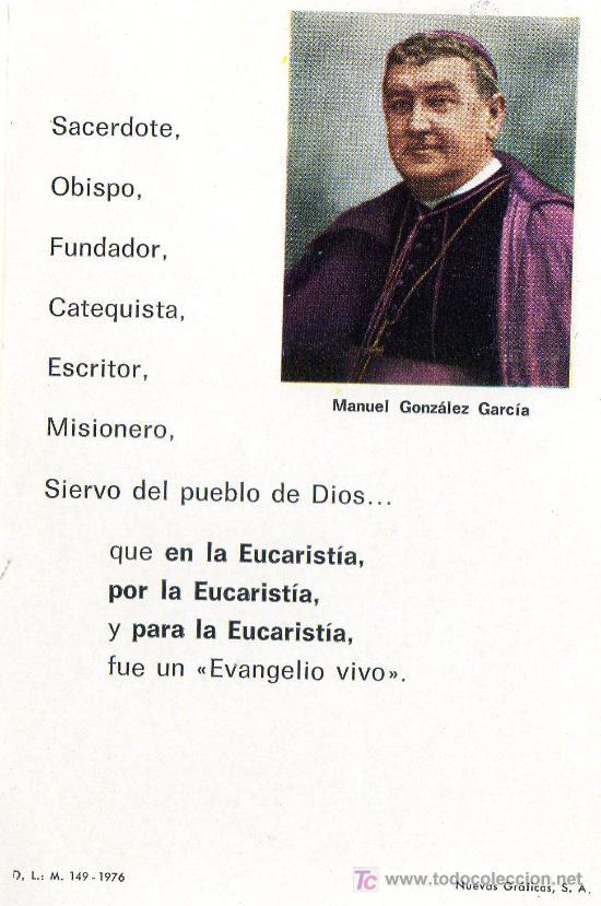 POSTAL CENTENARIO(1877-1977)DEL OBISPO MANUEL GONZALEZ .(VER LA OTRA CARA DE LA POSTAL) (Postales - Postales Temáticas - Conmemorativas)