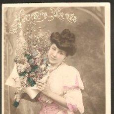 Postales: FELIZ AÑO. POSTAL COLOREADA CIRCULADA EN FRANCIA EN 1907. Lote 14252574