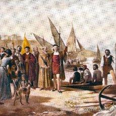 Postales: COLON DA EL MANDO DE LAS CARABELAS A PINZÓN Y A YÁÑEZ. POSTAL COLOR, C. 1930. Lote 23255080