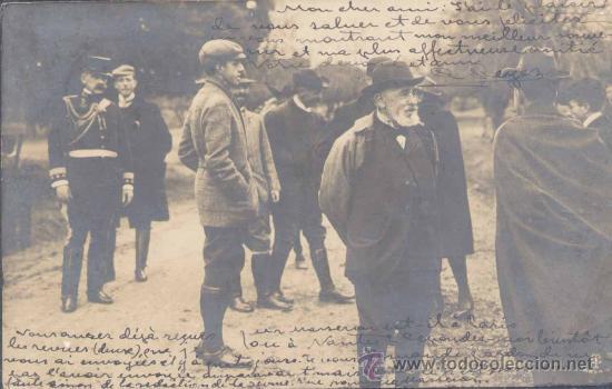 OCTUBRE 1905. M. LOUBET Y S.M. EL REY EN UN DESCANSO DE LA CACERÍA (Postales - Postales Temáticas - Conmemorativas)