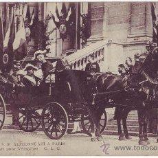 Postales: VISITA DE S. M. ALFONSO XIII A PARIS: SALIDA HACIA VERSALLES (1905). Lote 27439457