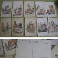 Postales: DON QUIJOTE DE LA MANCHA - SERIE COMPLETA 10 POSTALES. LANGA Y COMPAÑÍA - A COLOR, RELIEVE, DORADOS. Lote 22740603